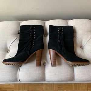 Coach Black Suede Boots with Fringe Size 7